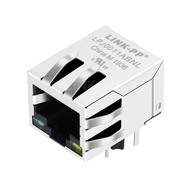Pulse J00-0213NL Compatible LINK-PP LPJ0011ABNL 10/100 Base-T Tab Down Green/Yellow Led 1 Port Shielded Integrated RJ 45 ICM Connector