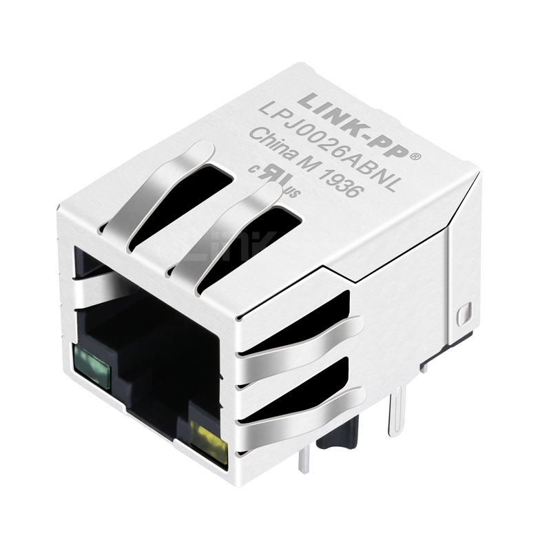 RJLD-221TC1 Compatible LINK-PP LPJ0026ABNL 10/100 Base-T Tab Down Green/Yellow Led 1 Port Shielded Connector RJ45 PCB Socket