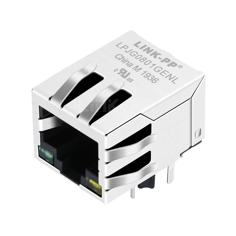 RDA-215BAM1A Compatible LINK-PP LPJG0801GENL 100/1000 Base-T Tab Down Green/Yellow Led Single Port 10 Pin RJ45 Networking Connector
