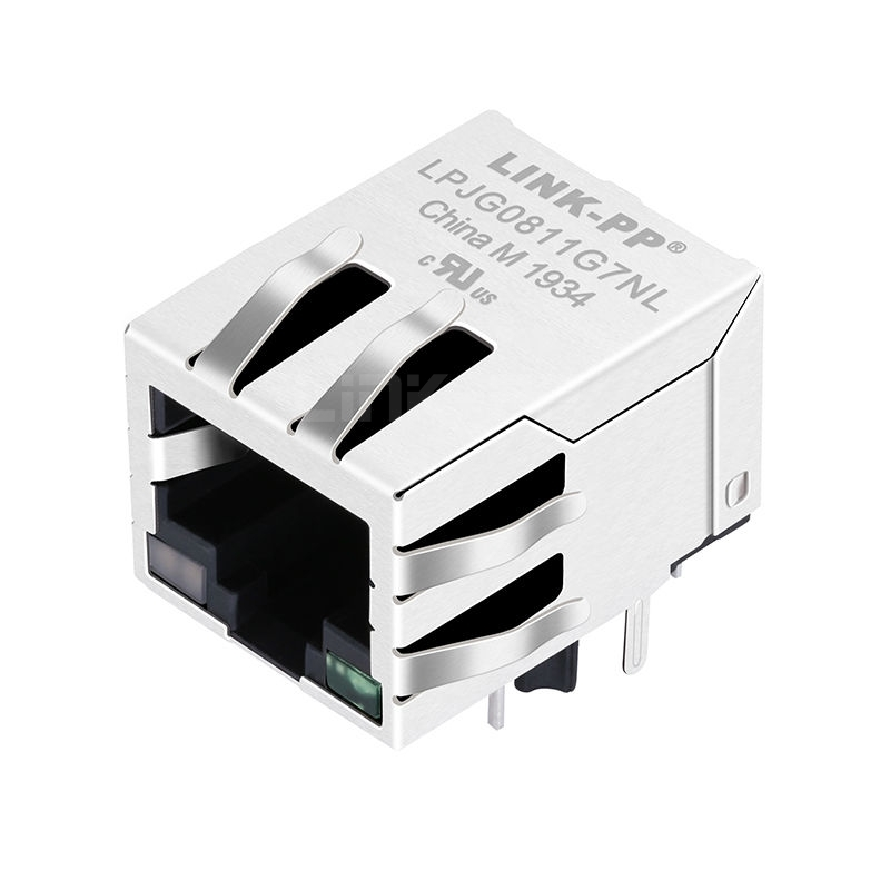 Pulse JKM-0013NL Compatible LINK-PP LPJG0811G7NL 100/1000 Base-T Tab Down Green&Yellow/Green Led One Port RJ45 Female PCB Connector