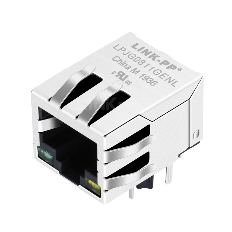 BelFuse C-2250022 Compatible LINK-PP LPJG0811GENL 100/1000 Base-T Tab Down Green/Yellow Led 1x1 Port 10 Pin RJ 45 Female Connector