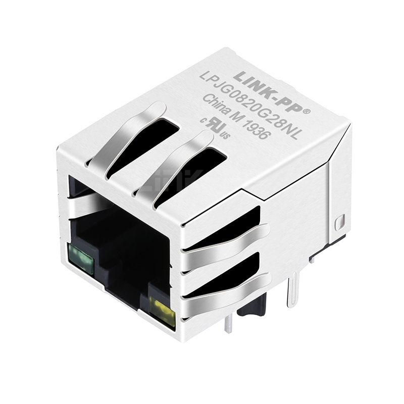 Tyco 5-6605435-1 Compatible LINK-PP LPJG0820G28NL 100/1000 Base-T Tab Down Green/Yellow Led Single Lan Port RJ45 10 Pin Connector