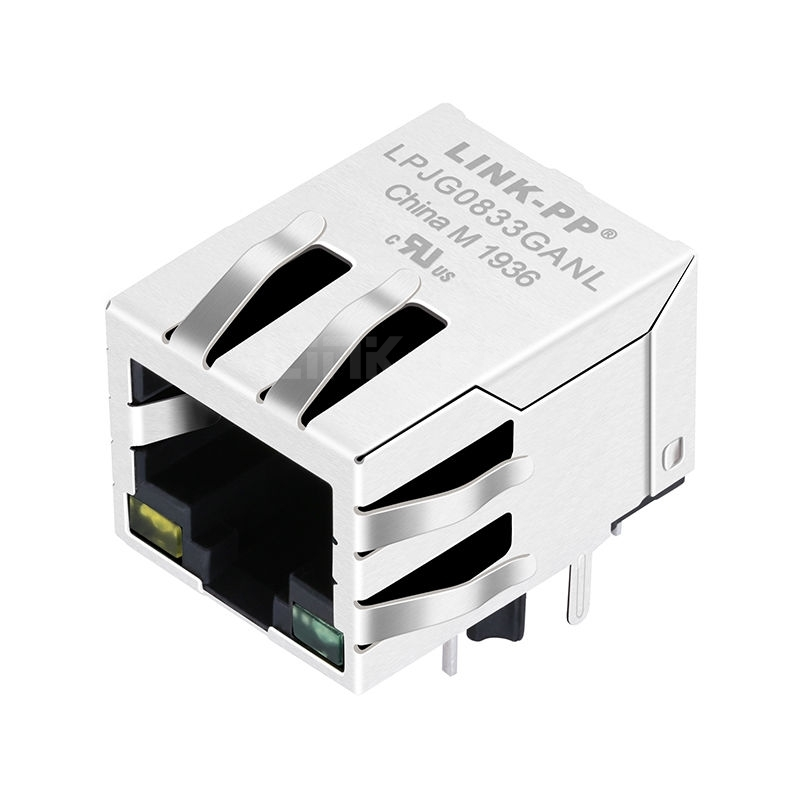 Tyco C-6605444 Compatible LINK-PP LPJG0833GANL 100/1000 Base-T Tab Down Yellow/Green Led 1 Port PCB RJ 45 Magjack Connector