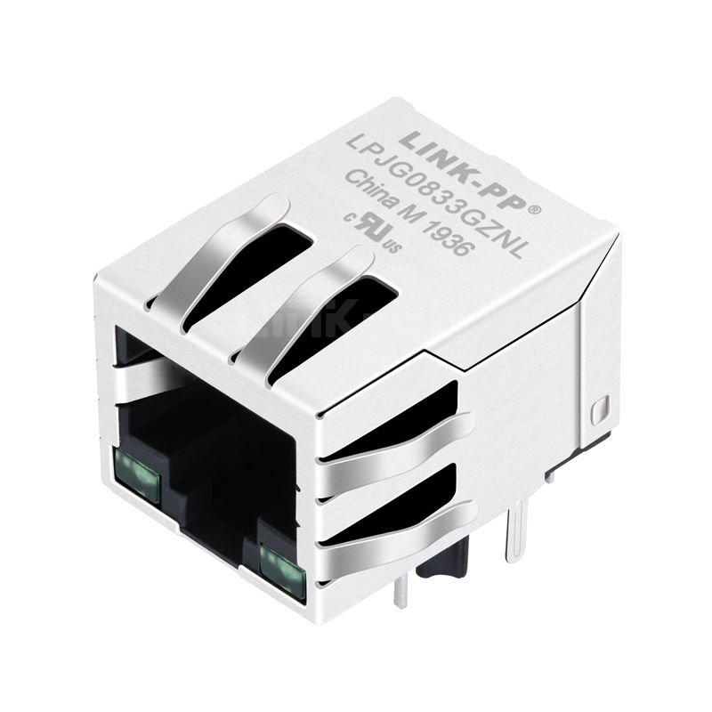 Tyco 1-6605444-1 Compatible LINK-PP LPJG0833GZNL 100/1000 Base-T Tab Down Green/Green Led 1x1 Port Integrated Magnetics RJ45 Connector Socket