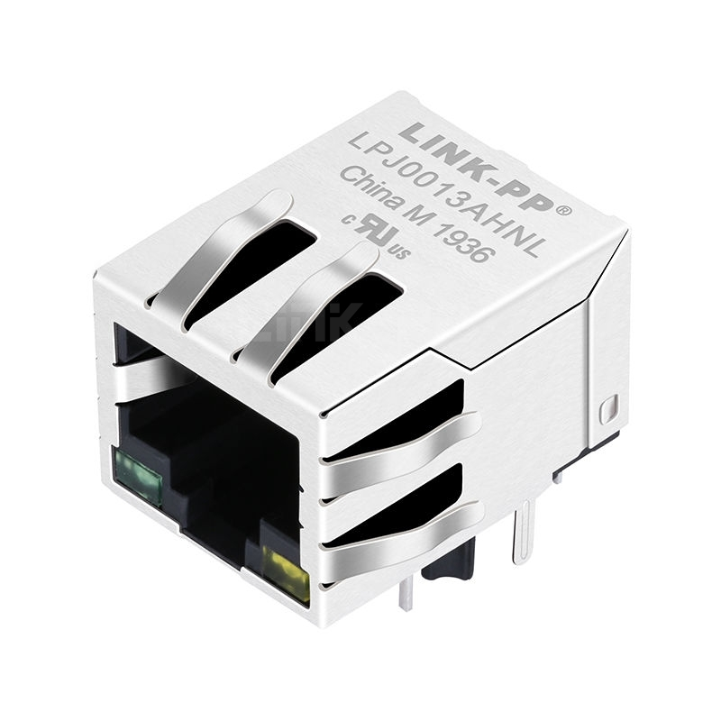 RJ-10149E Compatible LINK-PP LPJ0013AHNL 10/100 Base-T Tab Down Green/Yellow Led 1 Port 8 Pin RJ45 Board Connector