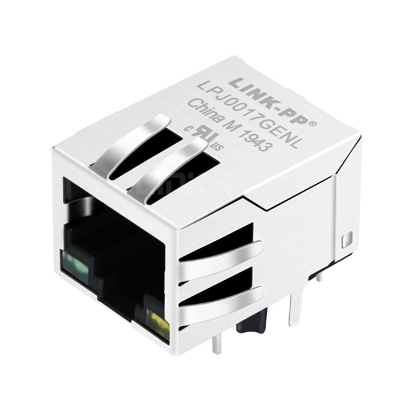 YDS 13F-60LDNL Compatible LINK-PP  LPJ0017GENL 10/100 Base-T Tab Down Green/Yellow Led 1x1 Port 8 Pin Connector RJ45 PCB Jack