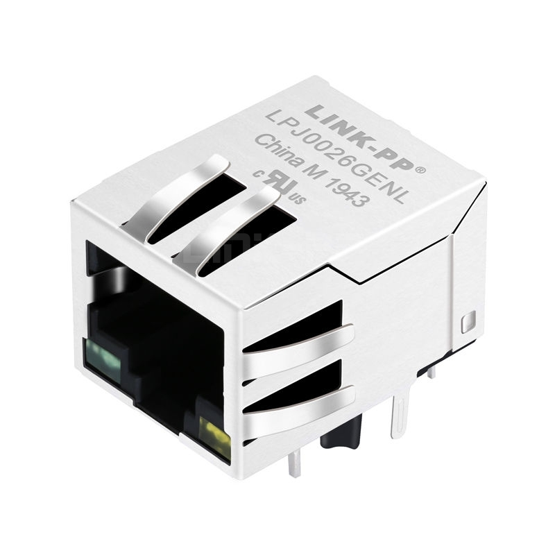 WE MIC25013-511T-LF3 Compatible LINK-PP LPJ0026GENL 10/100 Base-T Tab Down Green/Yellow Led 1 Port Shielded Industrial RJ45 Ethernet Connector