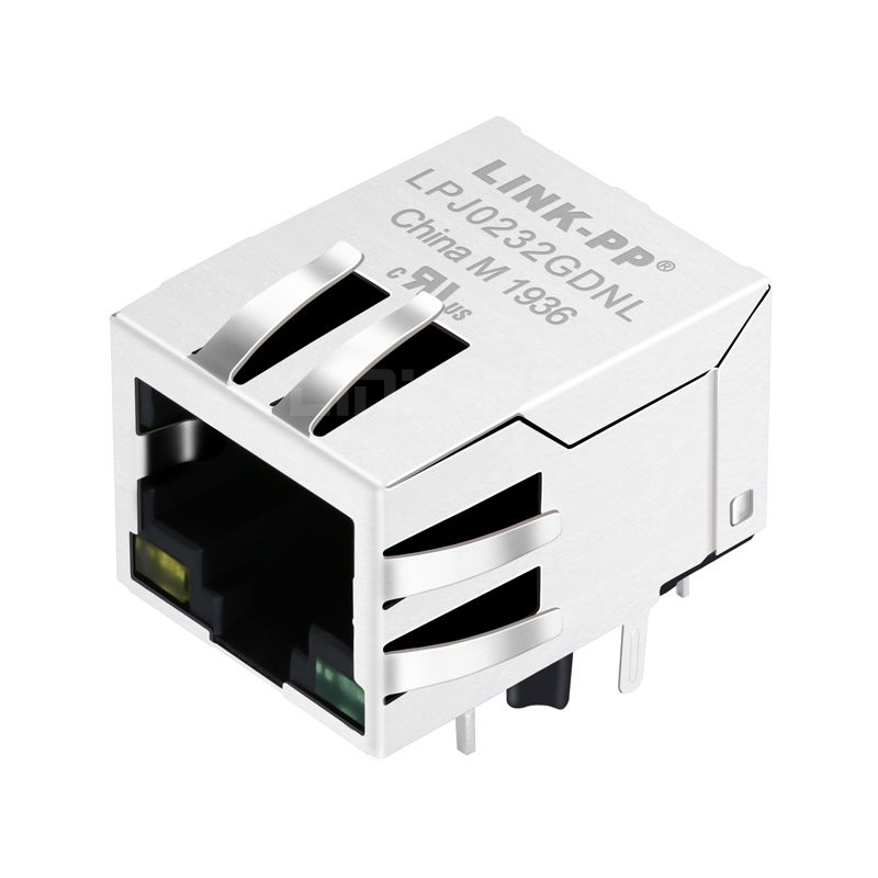 Tyco 5-6605425-9 Compatible LINK-PP LPJ0232GDNL 10/100 Base-T Tab Down Yellow/Green Led Single Port Magnetic RJ45 Jack Connector