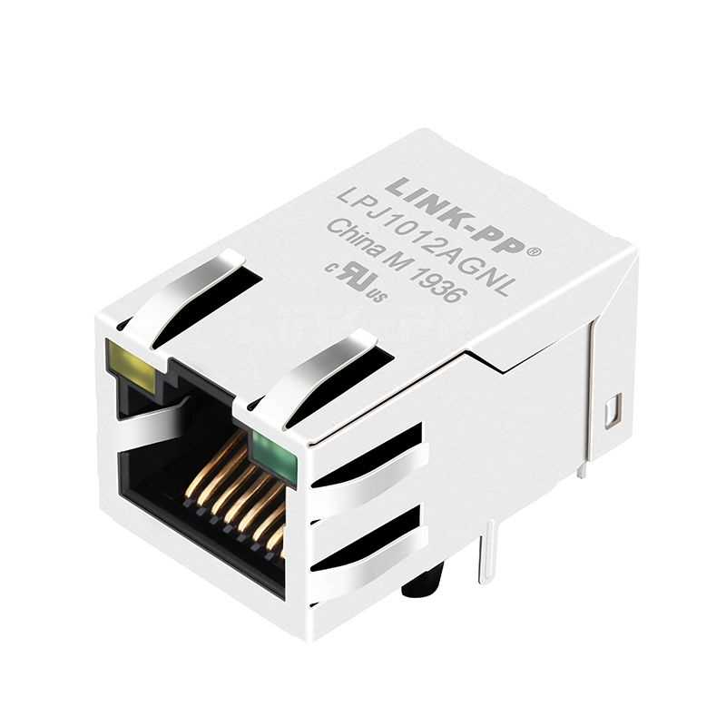 Hanrun HY911169C Compatible LINK-PP LPJ1012AGNL 10/100 Base-T Tab Up Yellow/Green Led 1x1 Port Female RJ 45 Networking Connector