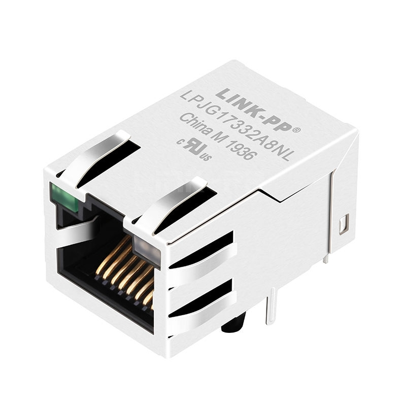Belfuse SI-51009-F Compatible LINK-PP LPJG17332A8NL 100/1000 Base-T Tab Up Green/Yellow&Green Led Single Port 10P8C RJ45 Networking Connector