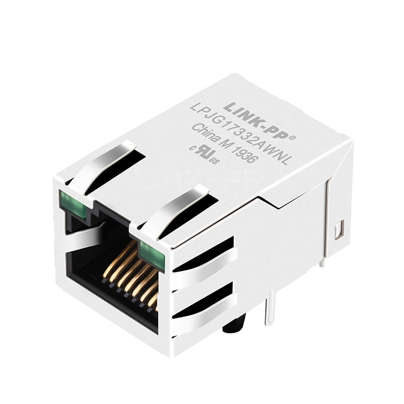 Belfuse SI-51005-G Compatible LINK-PP LPJG17332AWNL 100/1000 Base-T Tab Up Green/Green Led Single Port Networking Connector RJ 45 Module