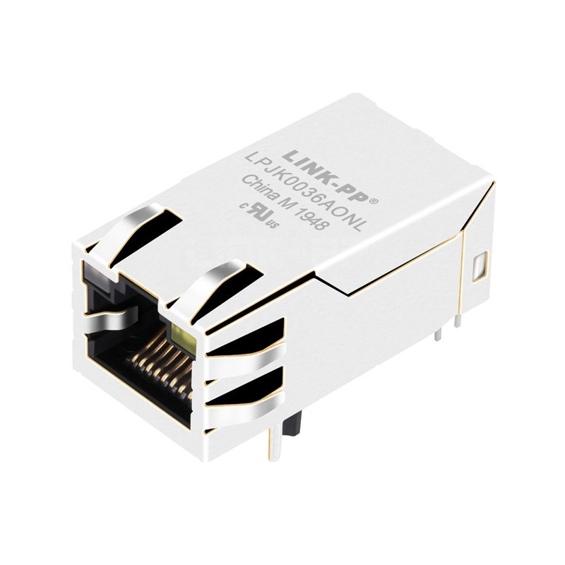 Belfuse 0826-1X1T-43-F Compatible LINK-PP LPJK0036AONL 100/1000 Base-T Tab Up Orange&Green/Yellow Led 1x1 Port RJ45 Network Connector