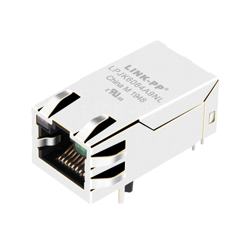 Pulse JXK0-0190NL Compatible LINK-PP LPJK6064A9NL 100/1000 Base-T Tab Up Green&Yellow/Green Led 1x1 Port POE+ RJ-45 with Integrated Magnetics