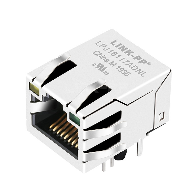 Bothhand KRU1T041-34-LF Compatible LINK-PP LPJ16117ADNL 10/100 Base-T Tab Up Yellow/Green Led Single Port Shielded Magnetic RJ45 Connector
