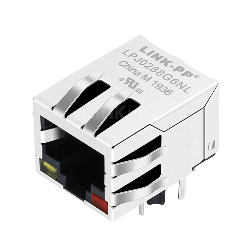 BelFuse SI-40267 Compatible LINK-PP LPJ0288G6NL 10/100 Base-T Tab Down Yellow/Red Led Single Port RJ45 Shielded Connectors