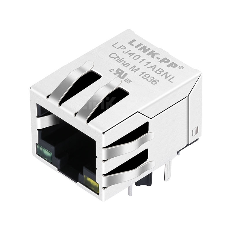 Pulse JXR0-0011NL Compatible LINK-PP LPJ4011ABNL 10/100 Base-T Tab Down Green/Yellow Led 1x1 Port Shielded RJ-45 Magjack Connector