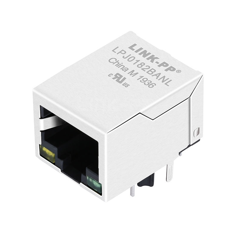 Bothhand LU1S041CX-XX Compatible LINK-PP LPJ0182BANL 10/100 Base-T Tab Down Yellow/Green Led 1 Port Lan RJ45 Angled Connector