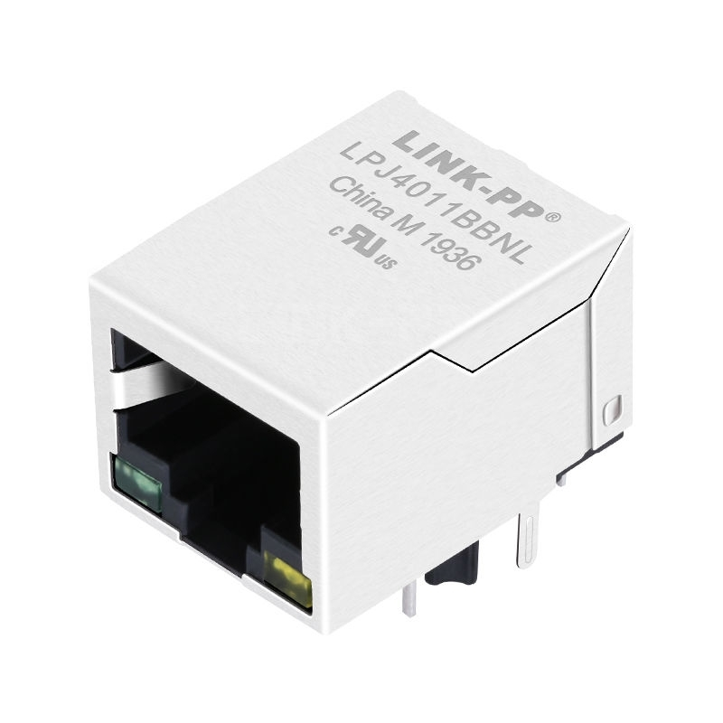 MJF13T45L-KX06B3GY43-0808 Compatible LINK-PP LPJ4011BBNL 10/100 Base-T Tab Down Green/Yellow Led Single Port Industrial RJ45 Ethernet Connector