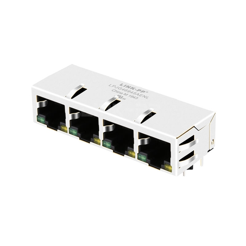 Pulse JXD0-4015NL Compatible LINK-PP LPJG46945AENL 10/100/1000 Base-T Tab Down Green/Yellow LED 1x4 Port Connector Ethernet