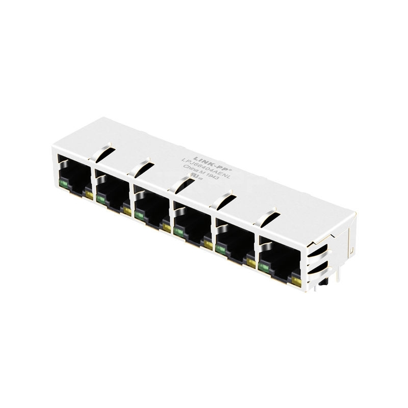 Belfuse SI-60234-F Compatible LINK-PP LPJ66404AENL 10/100 Base-T Tab Down Green/Yellow LED 1x6 Port RJ45 Jack Connection