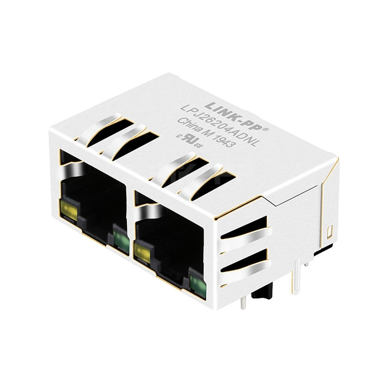 WE 7499021125 Compatible LINK-PP LPJ26204ADNL 10/100 Base-T Tab Down Yellow/Green LED 1x2 Port Ethernet Connector Modules